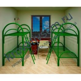 Металлическая кровать двухъярусная УК-2 (с ограждением и лестницей)