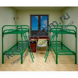 Металлическая кровать двухъярусная СБУ-2 (с ограждением и лестницей)
